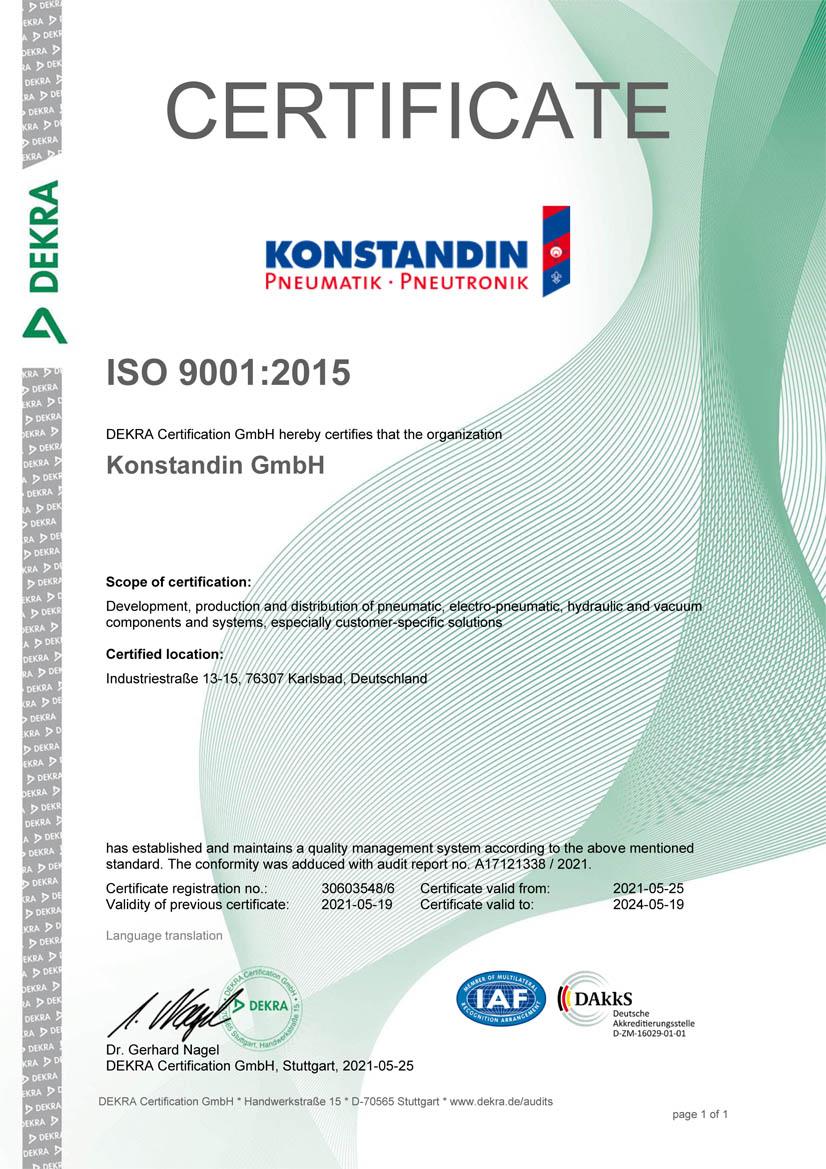 Certificate DIN ISO 9001 2021-2024 en