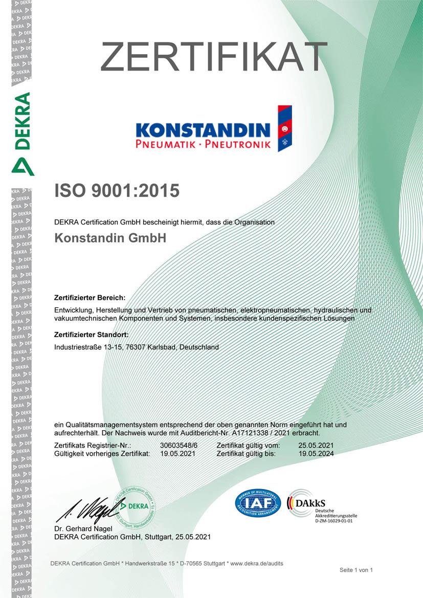 Zertifikat DIN ISO 9001 2021-2024